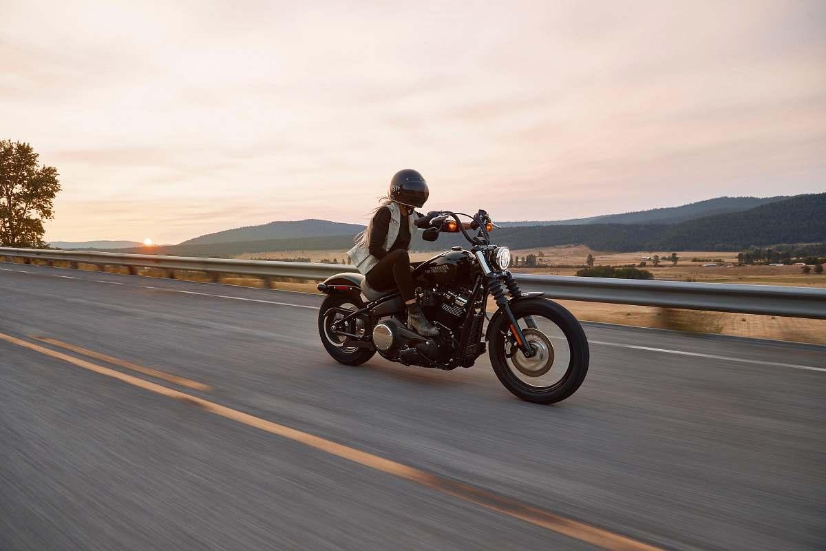 stock photos free  of vehicle man on black cruiser motorcycle in highway transportation