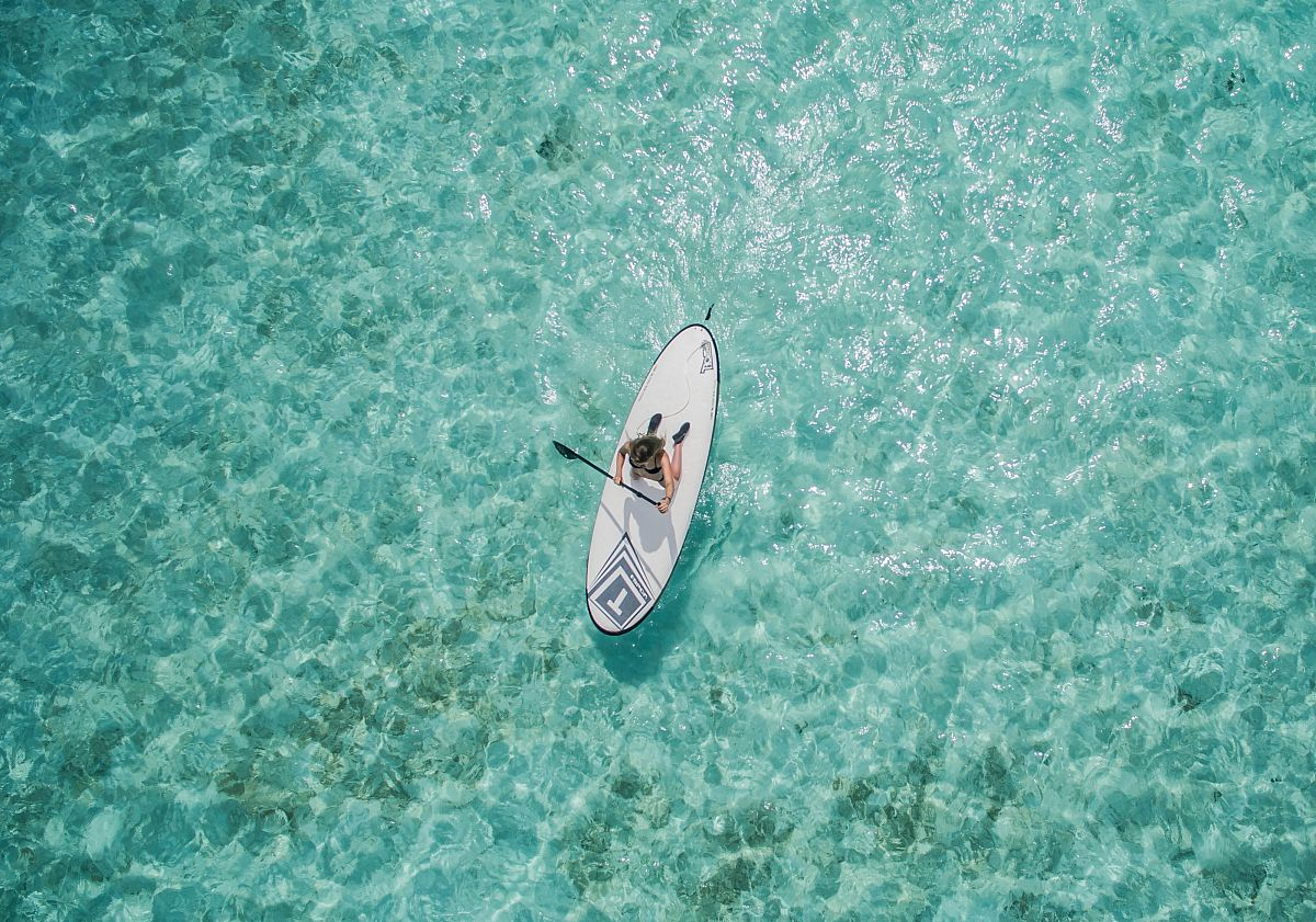 stock photos free  of aerial photo of person using paddleboard