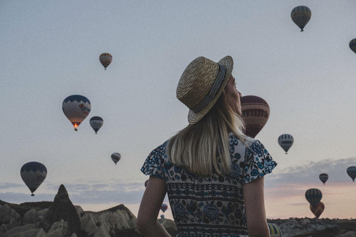 stock photos free  of woman watching hot air balloons