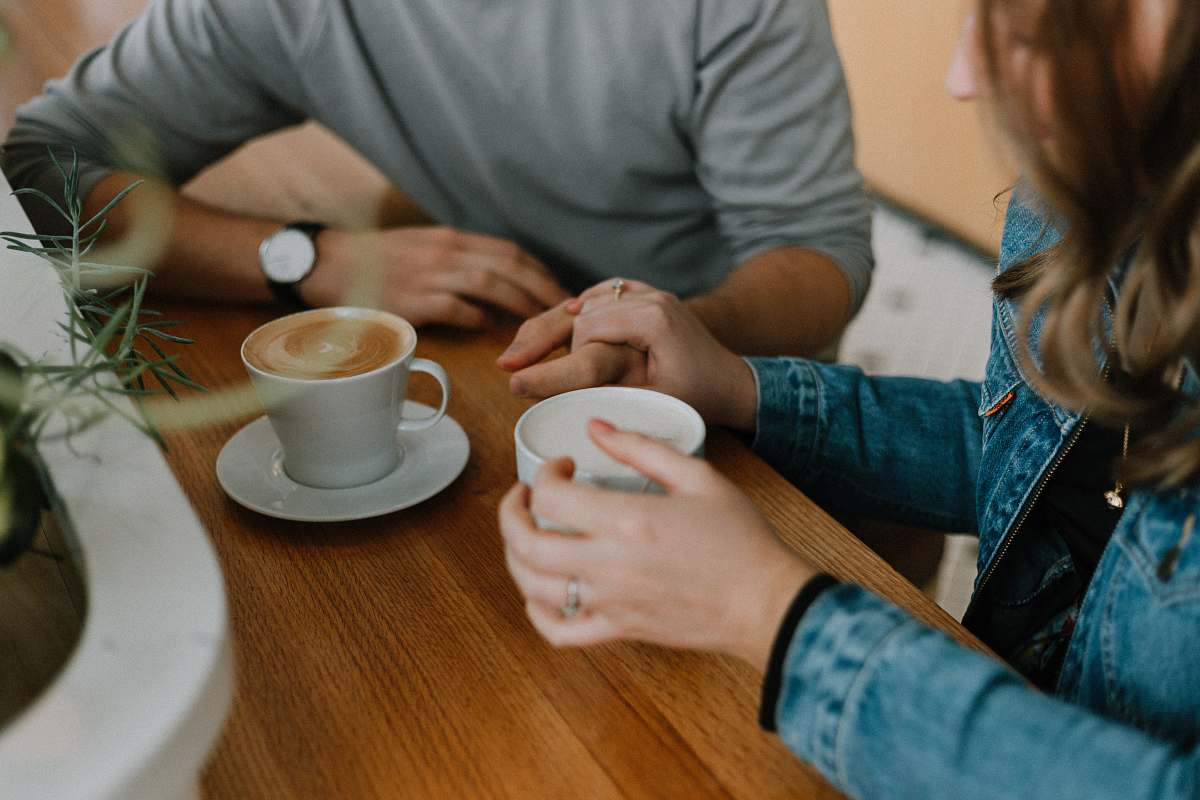 stock photos free  of human two mugs with coffee on table cup