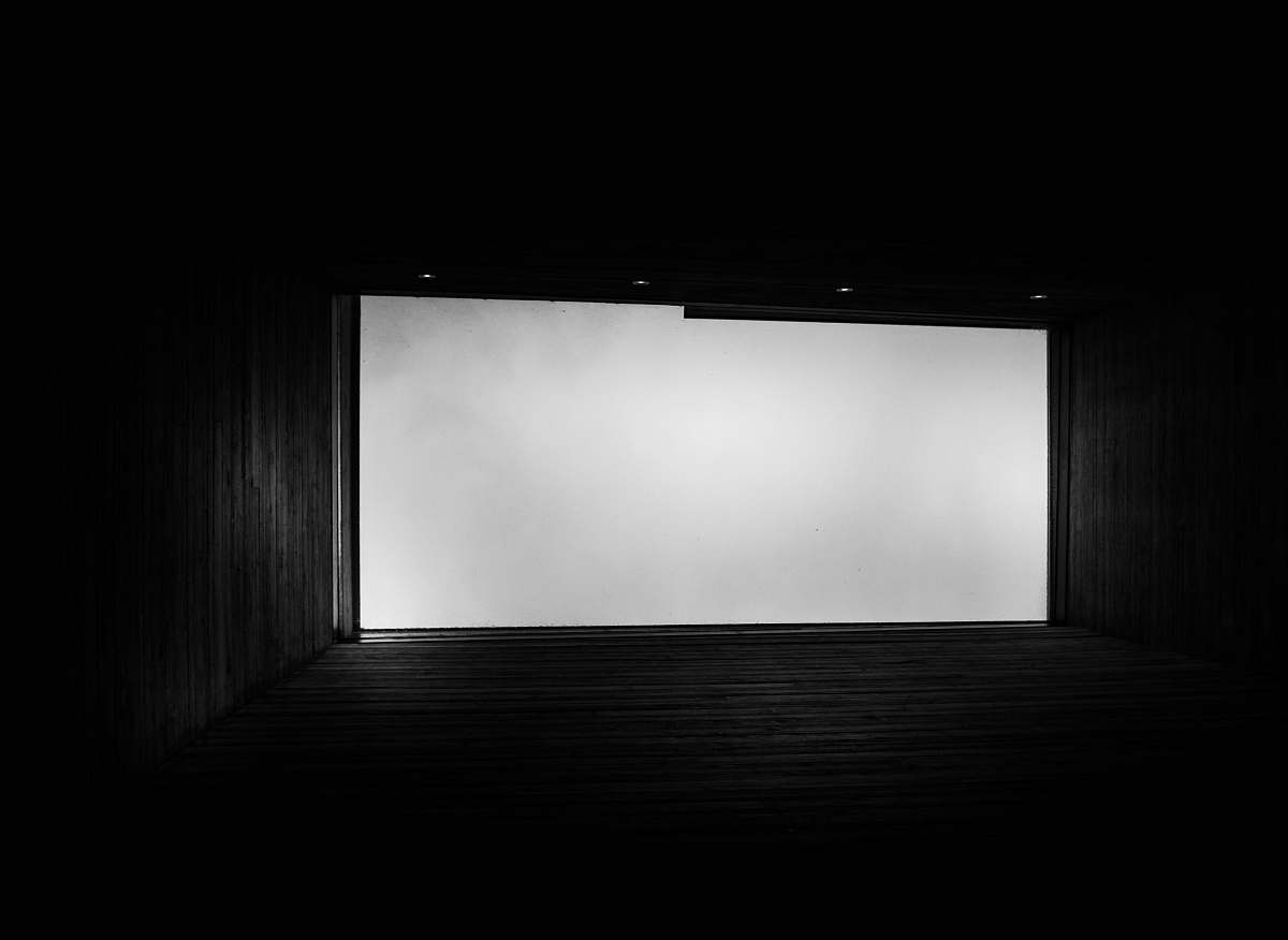 stock photos free  of architecture black wooden hallway with white fog building