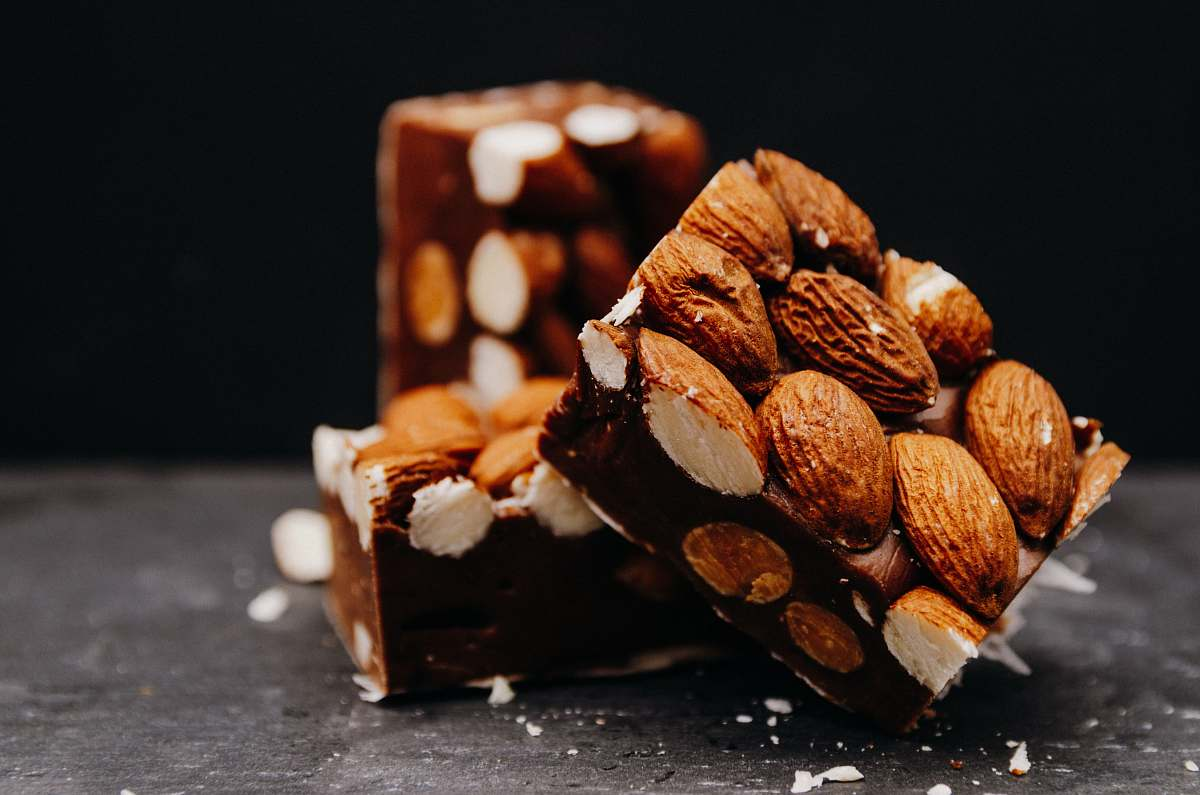 stock photos free  of food brown and white chocolate bars almond