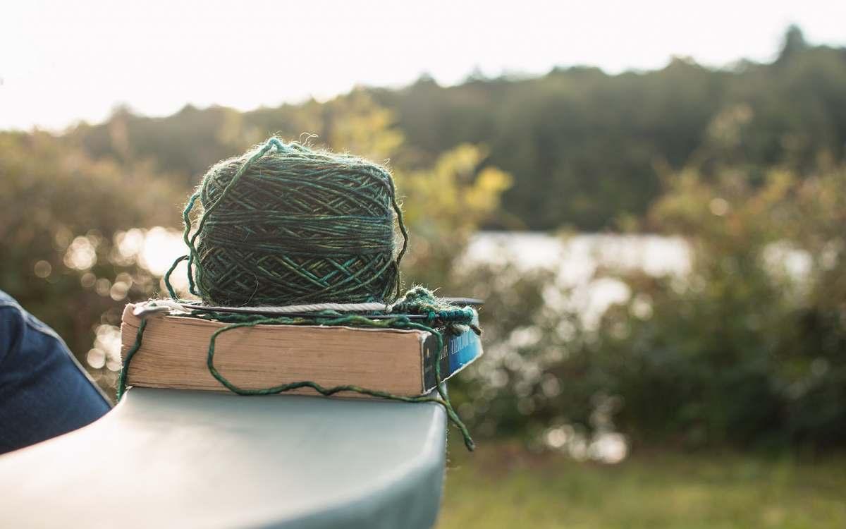 stock photos free  of knitting green yard on white book yarn