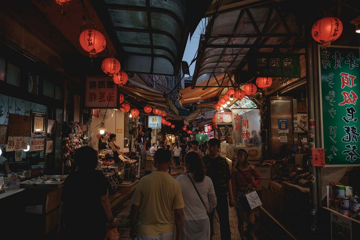 stock photos free  of person people standing near red lanterns market