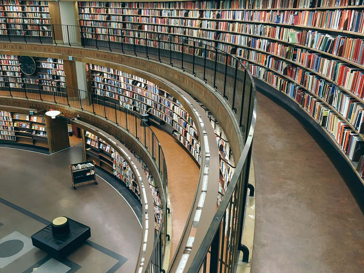 stock photos free  of library three-storey library building with lots of books room
