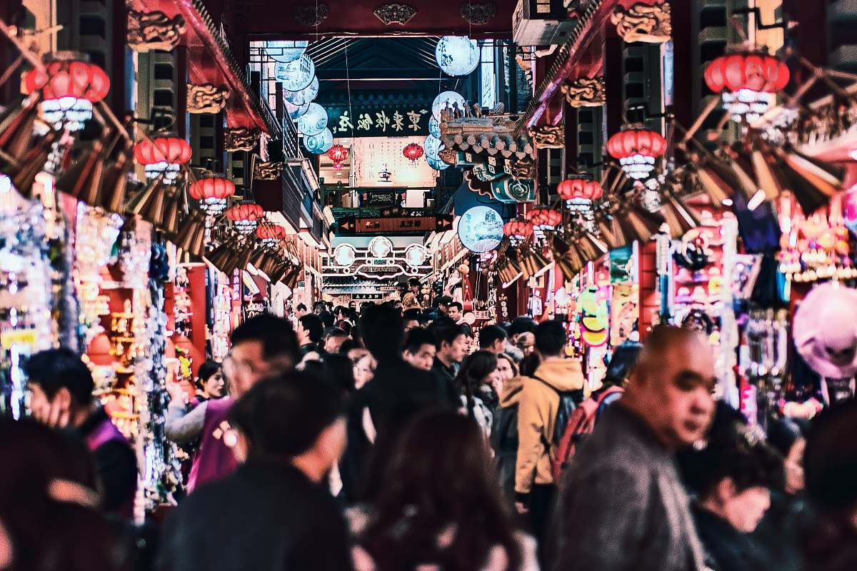 stock photos free  of human people in street during nighttime market