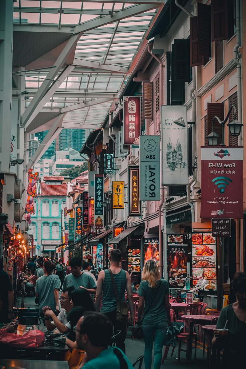 stock photos free  of people people walking on street market singapore