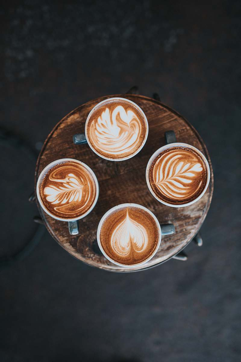 Food Aerial Photography Of Cafe Latte On Table Cafe Image Free Stock Photo