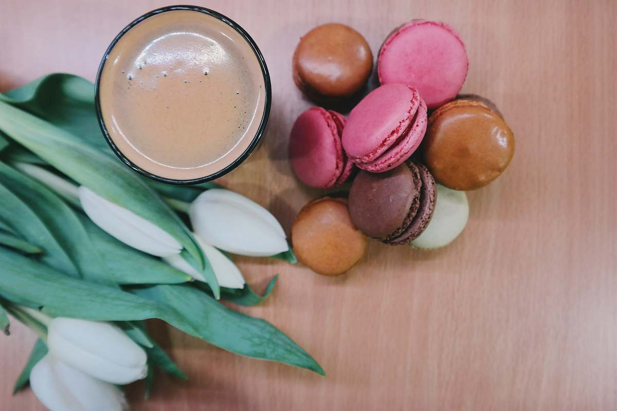 stock photos free  of food assorted-color macaroon near bowl flowers