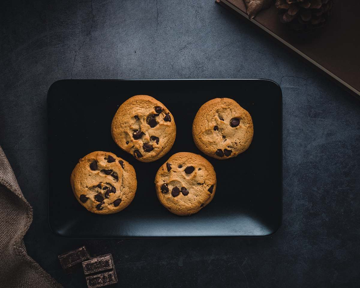 stock photos free  of biscuit plate of four chocolate cookies cookie