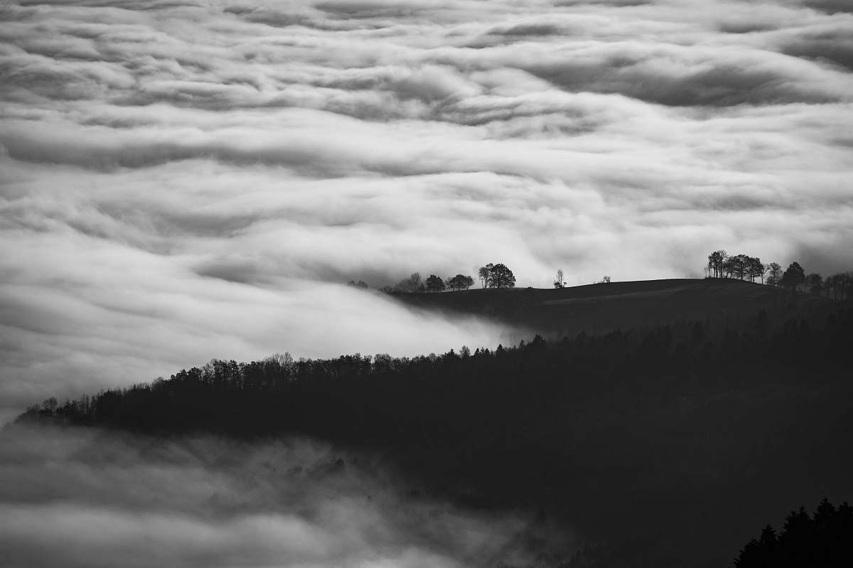 Landscape Photo Of Mountain Surrounded With Sea Of Clouds Desktop