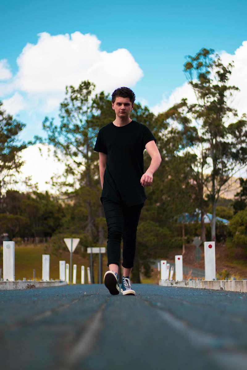 stock photos free  of shoe standing man wearing black crew-neck t-shirt apparel