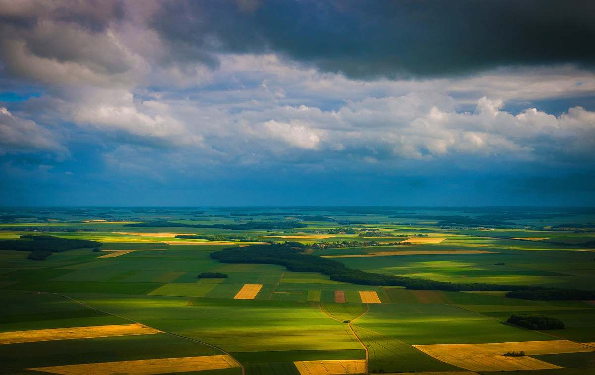 stock photos free  of sky aerial photo of green and brown field cloud