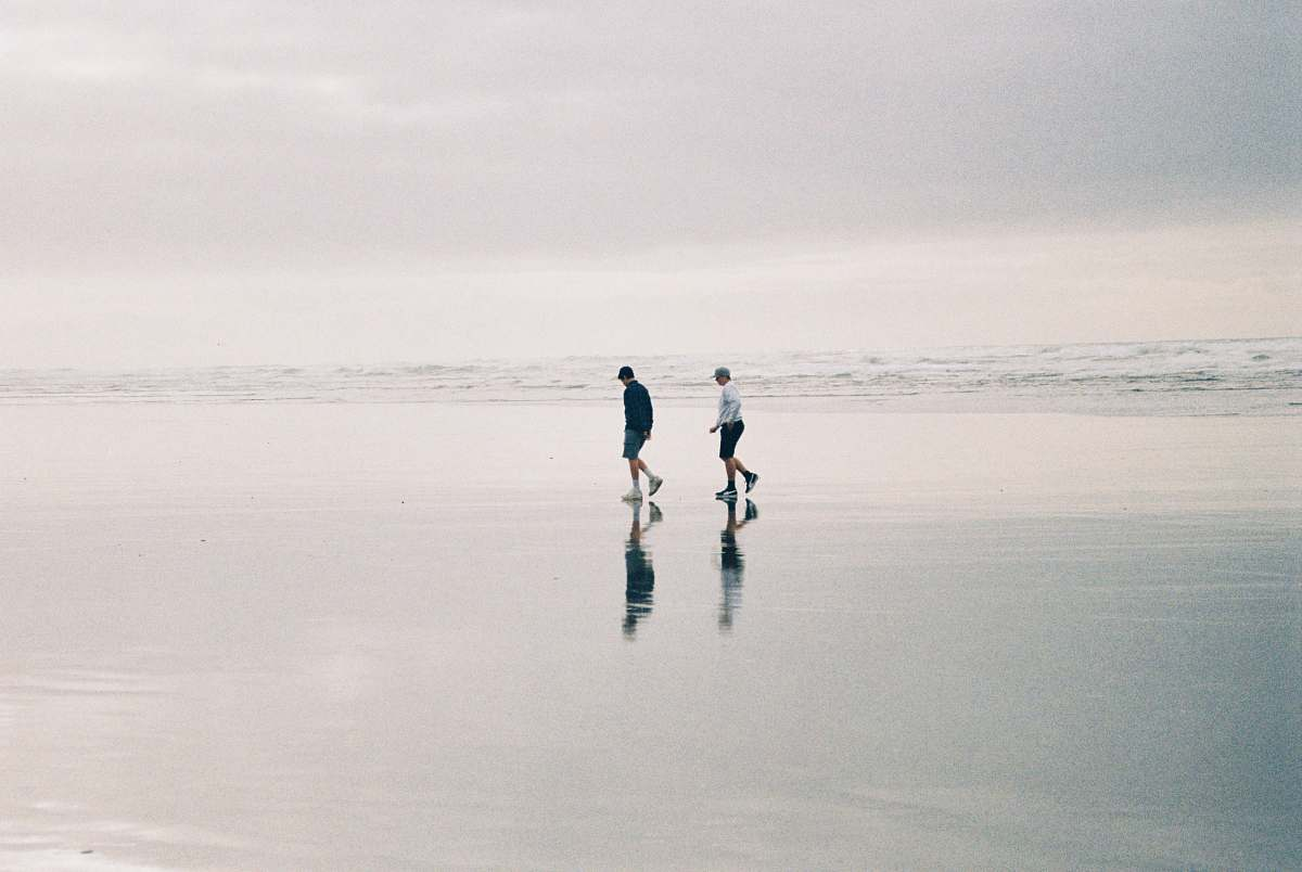 stock photos free  of human two person walking at beach during daytime black-and-white