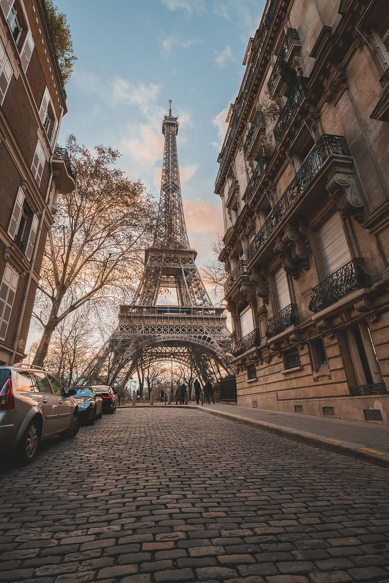 stock photos free  of path Eiffel Tower under blue sky during daytime pavement