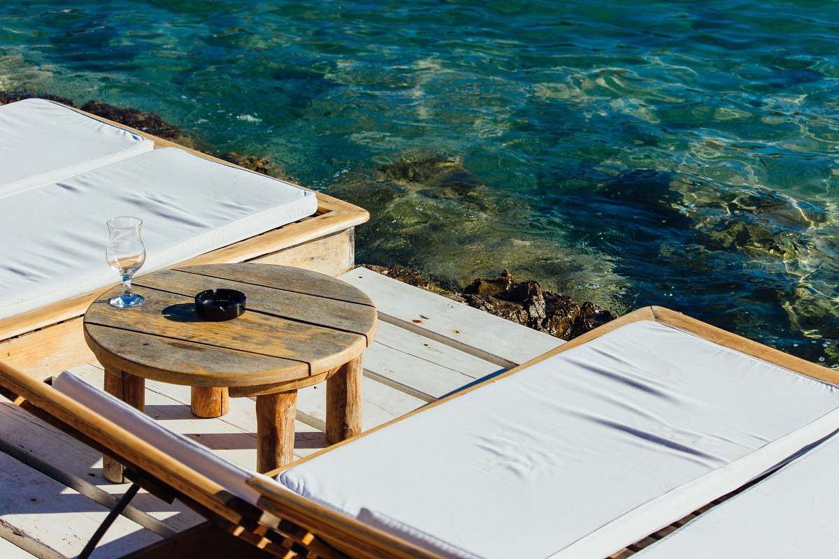 stock photos free  of croatia round brown wooden coffee table water