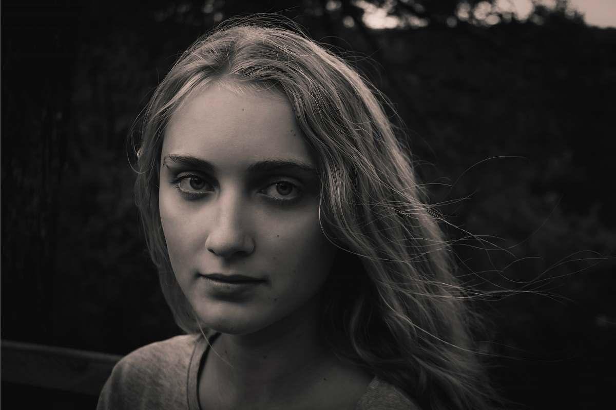 Human Greyscale Photo Of Woman Wearing Shirt Face Image Free Stock Photo
