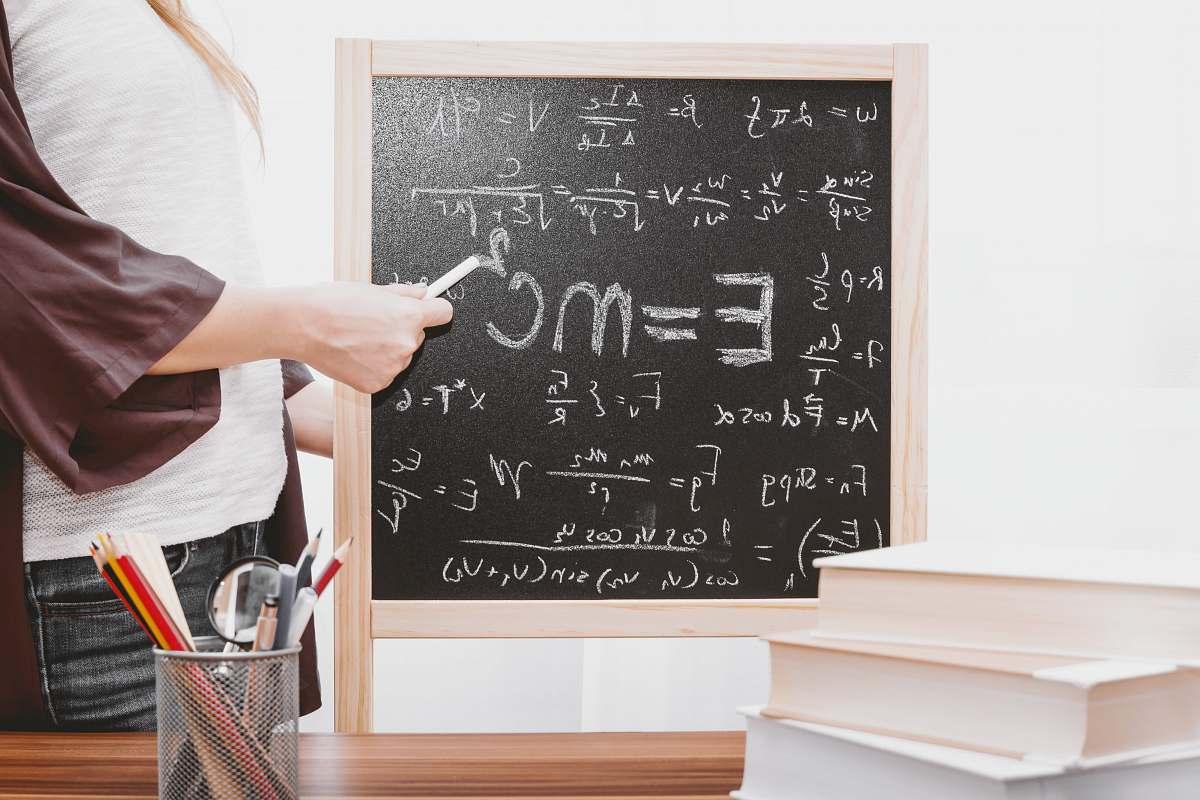 stock photos free  of education E-mc2 written on chalkboard school