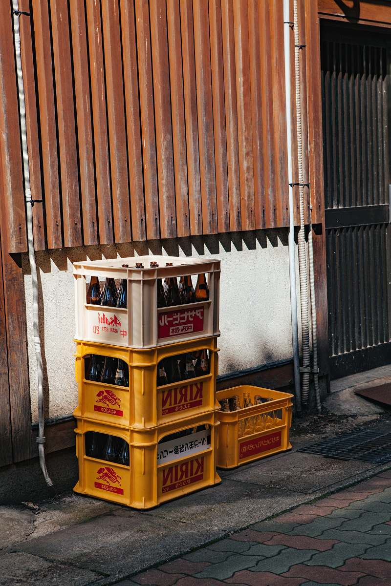 stock photos free  of crate four plastic bottle crates brown
