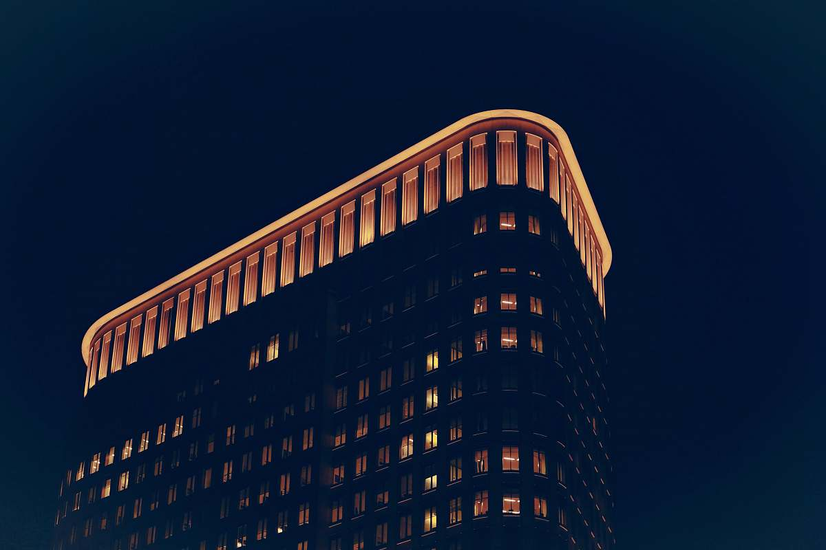 stock photos free  of city low angle photo of building at nighttime urban