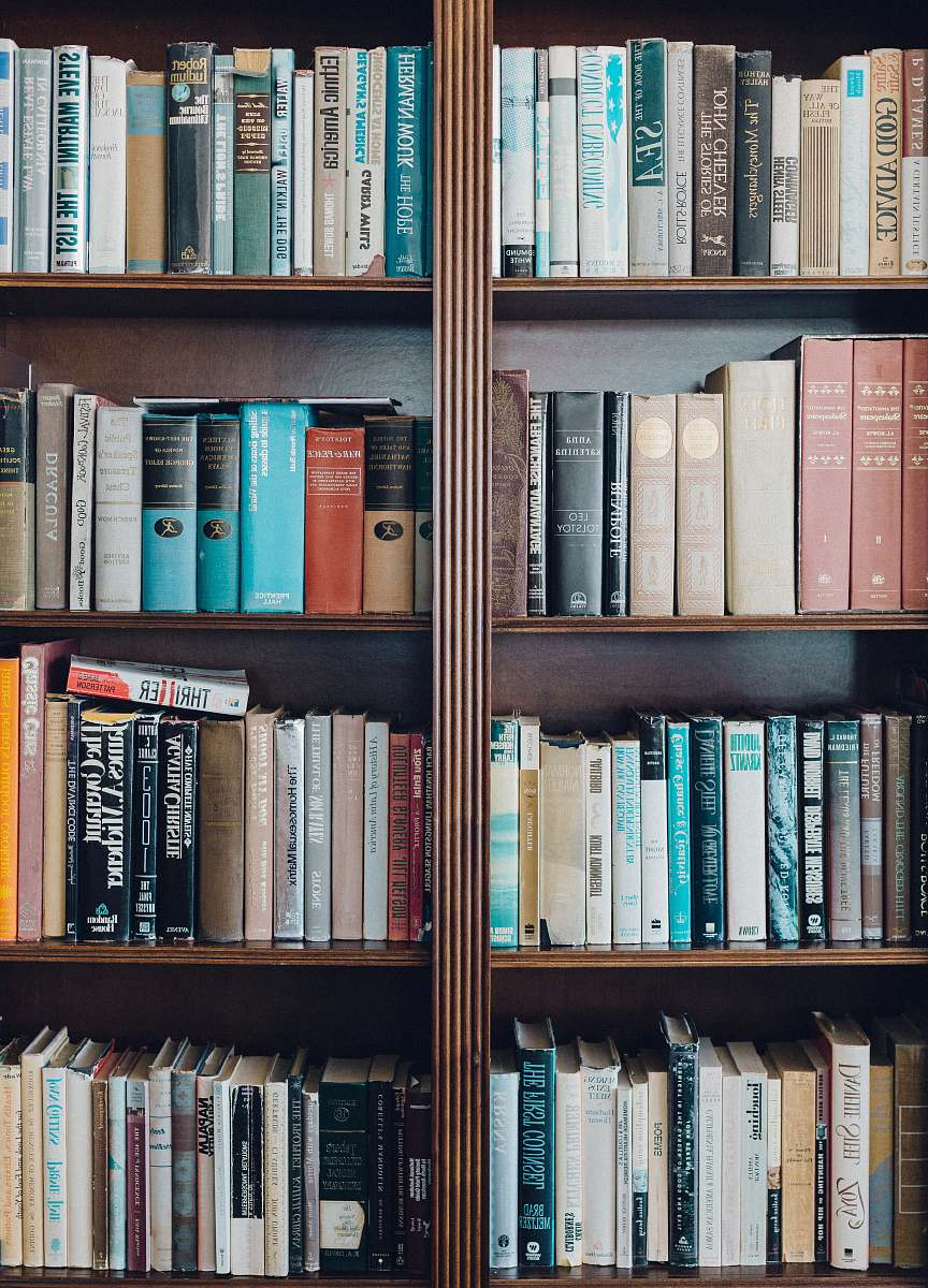 stock photos free  of shelf assorted-title book in bookcase bookcase
