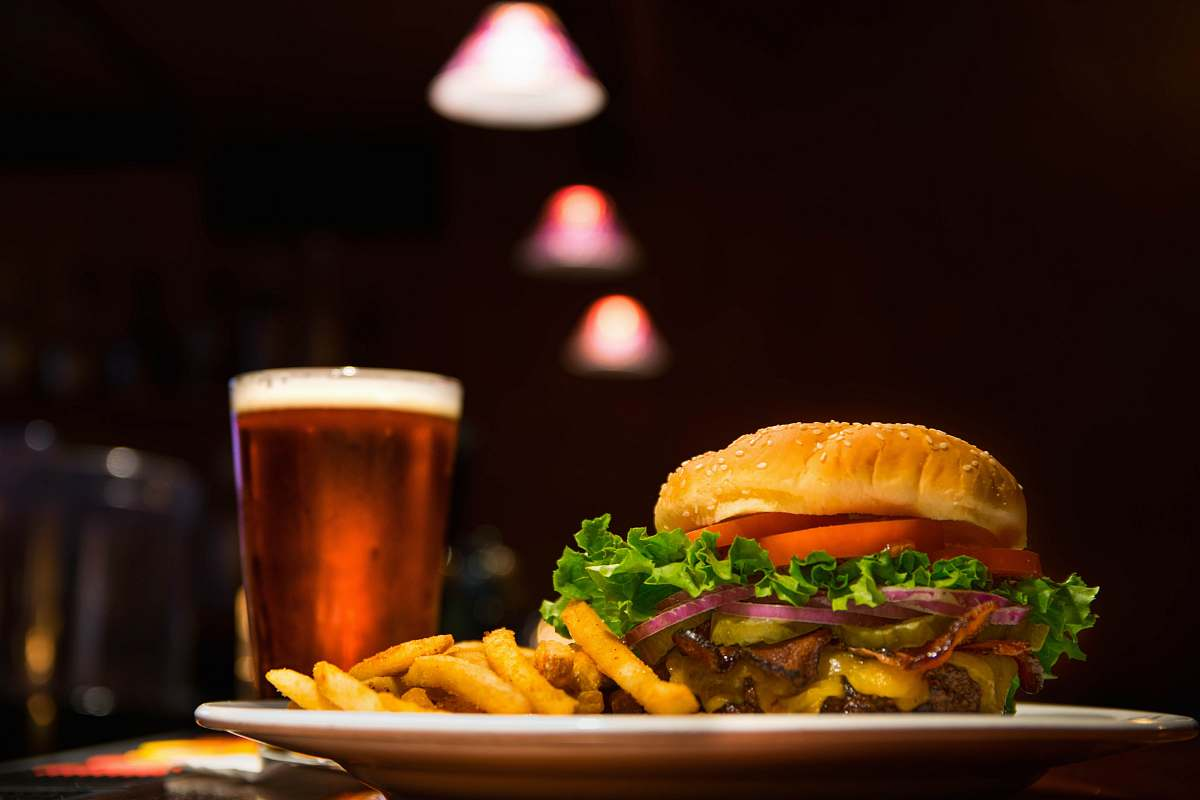 stock photos free  of burger burger and fries on plate restaurant
