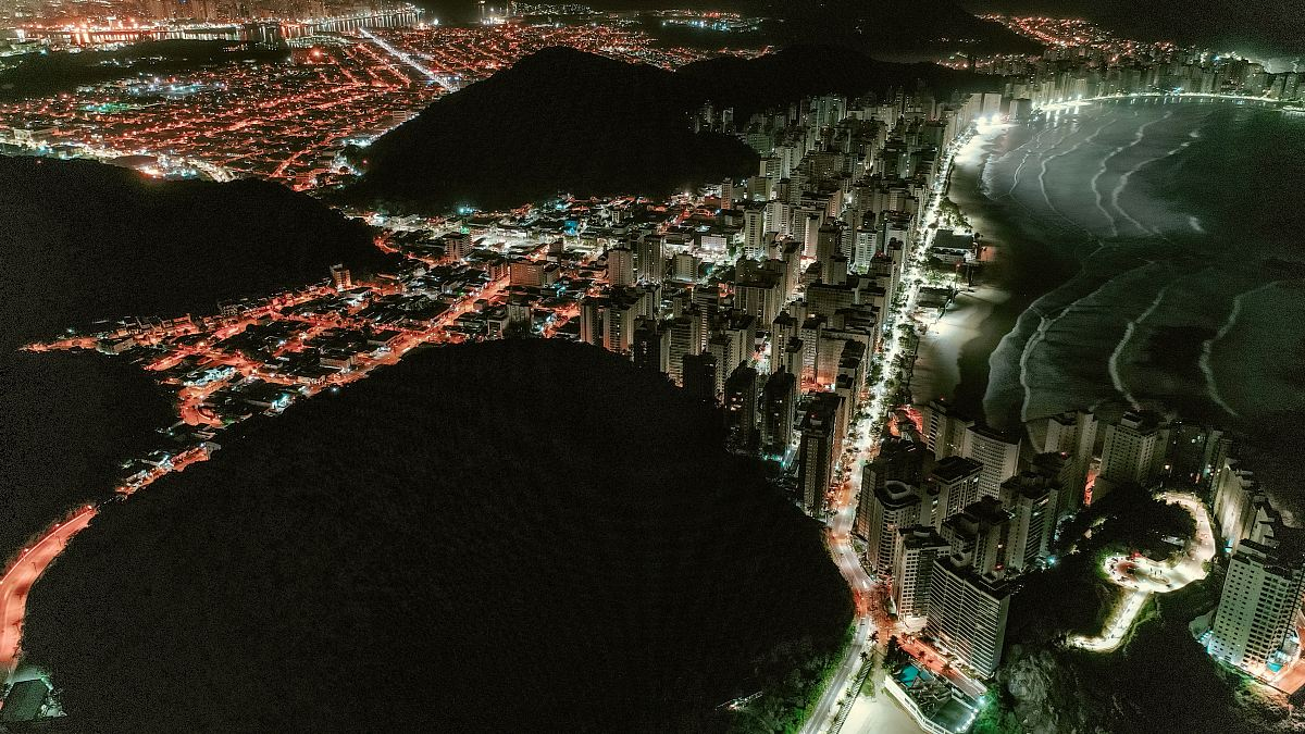 stock photos free  of aerial photography of building at night