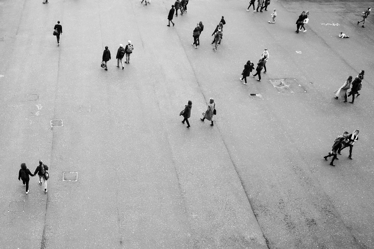 stock photos free  of aerial photography of people on open area