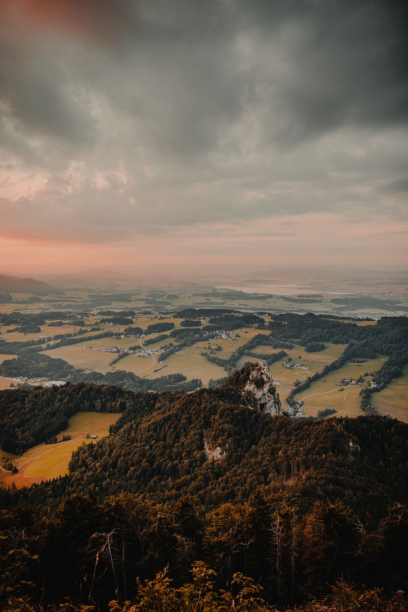stock photos free  of aerial photography of tree covered mountain under gray skies