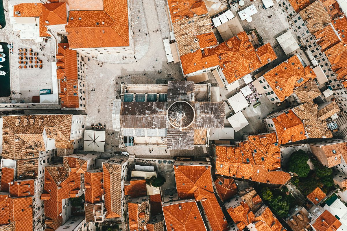 stock photos free  of aerial view of houses with cathedral