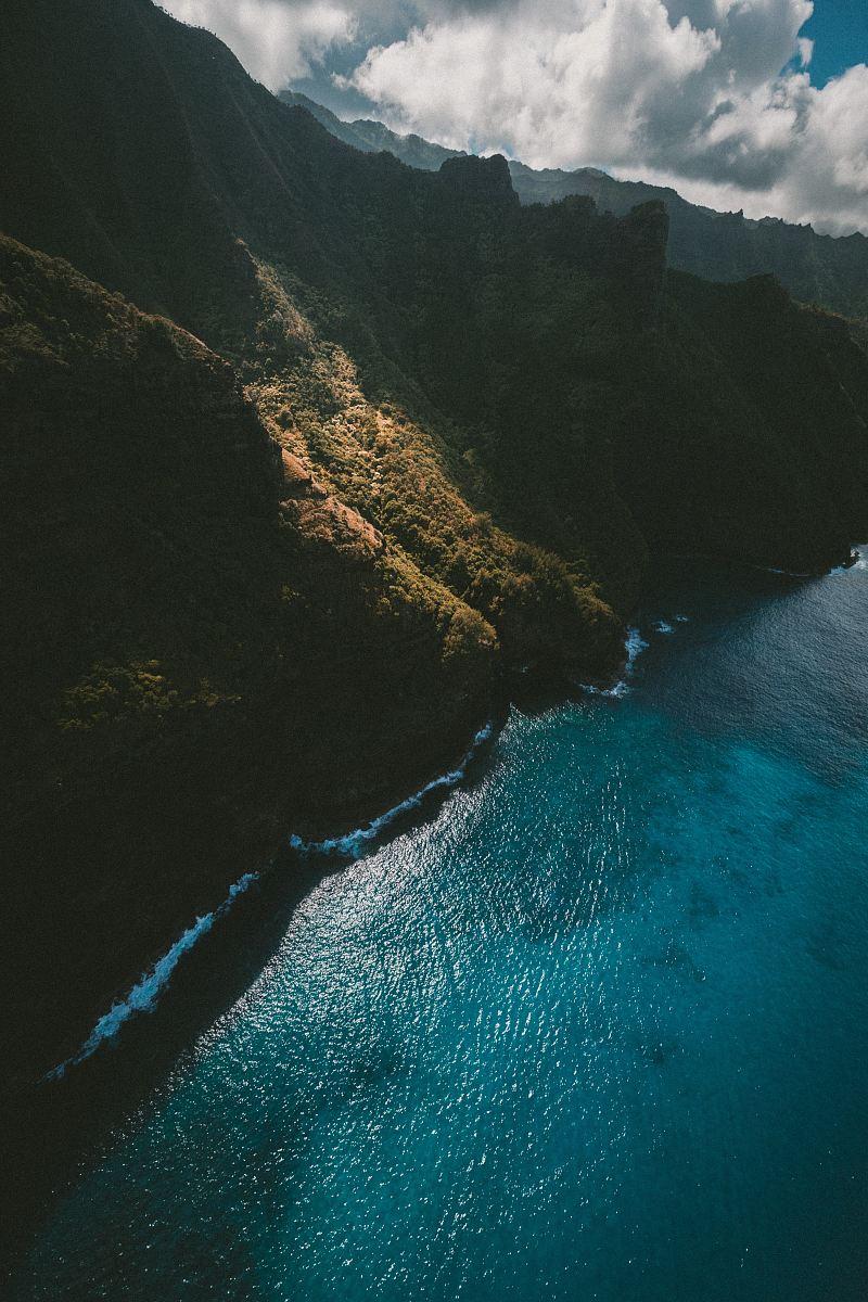 stock photos free  of bird's eye view of mountain and ocean
