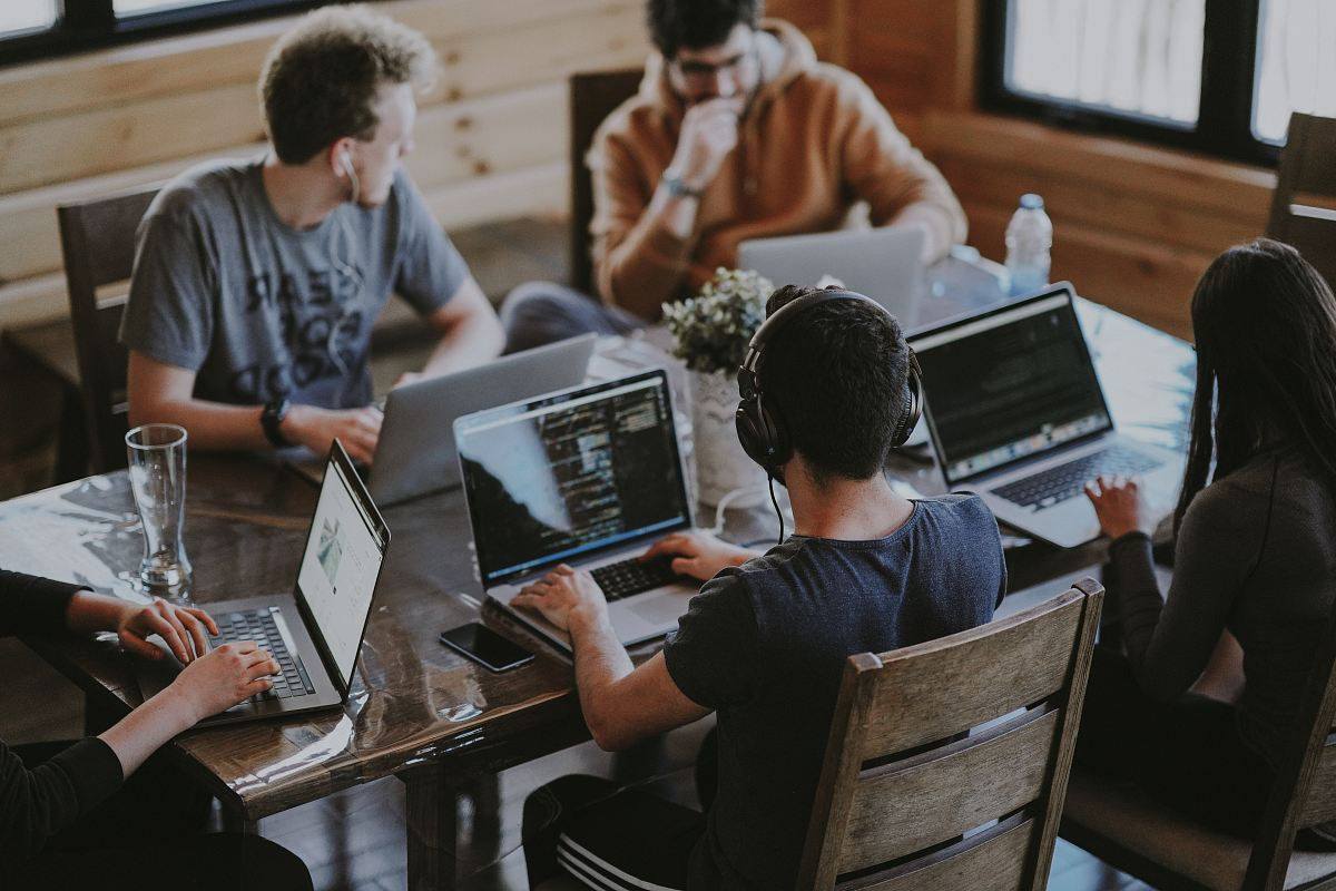 stock photos free  of group of people using laptop computer