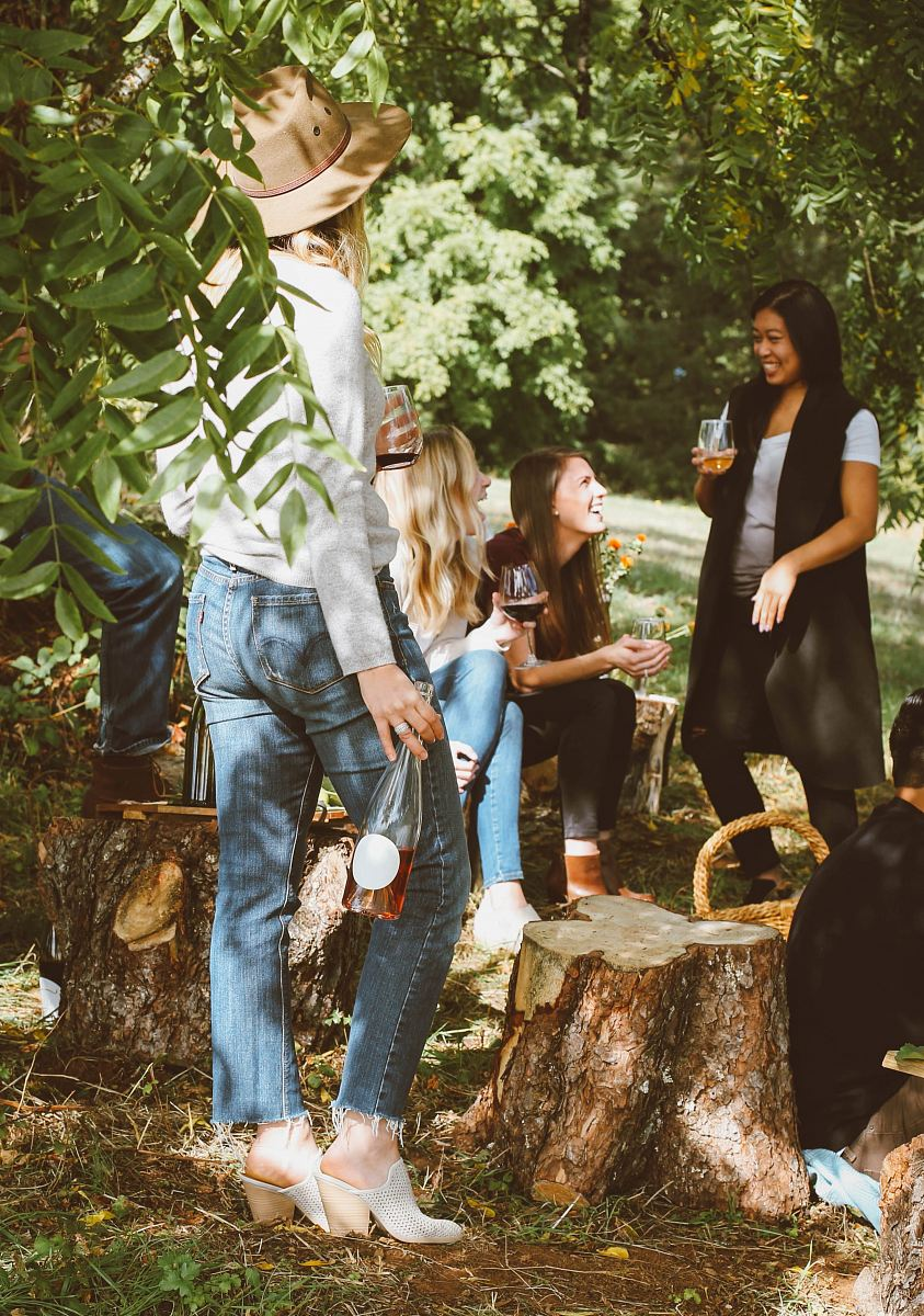 stock photos free  of group of women in forest drinking