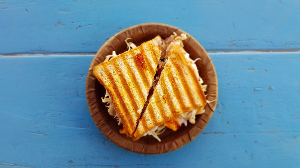 stock photos free  of two slices of sandwich on brown container