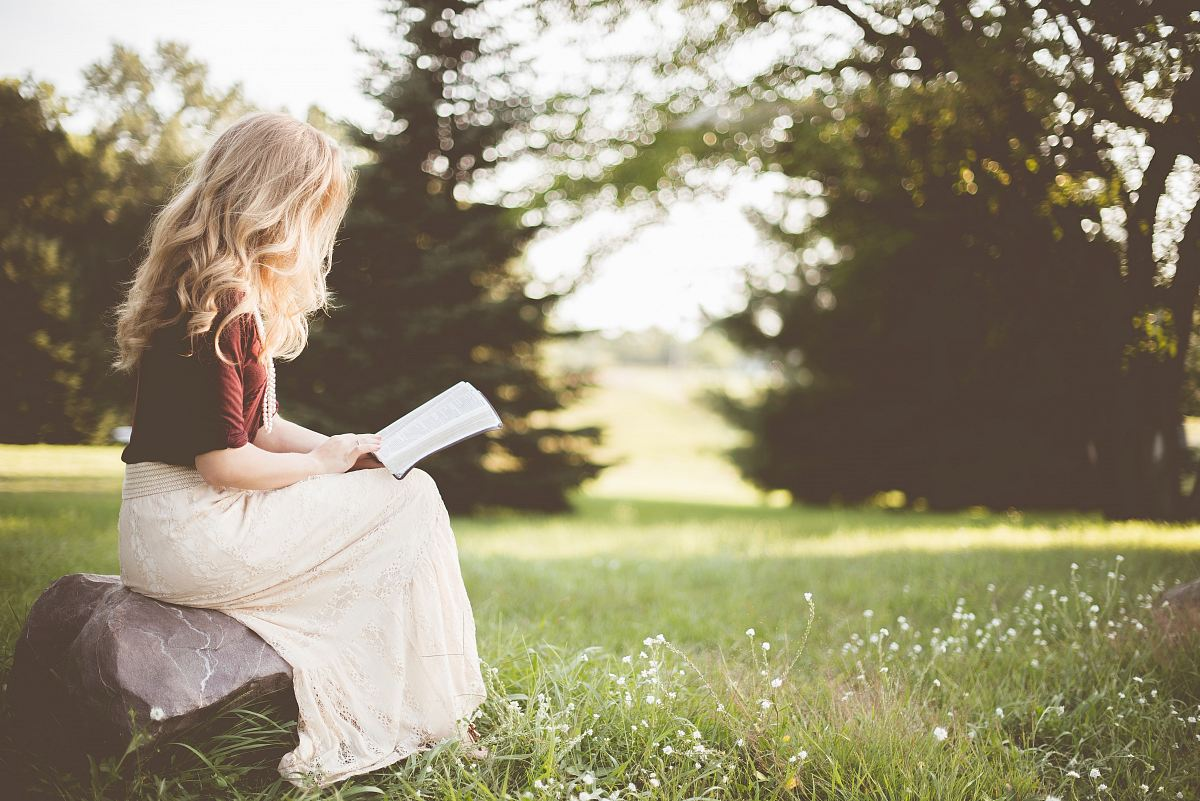 stock photos free  of woman sitting while reading book