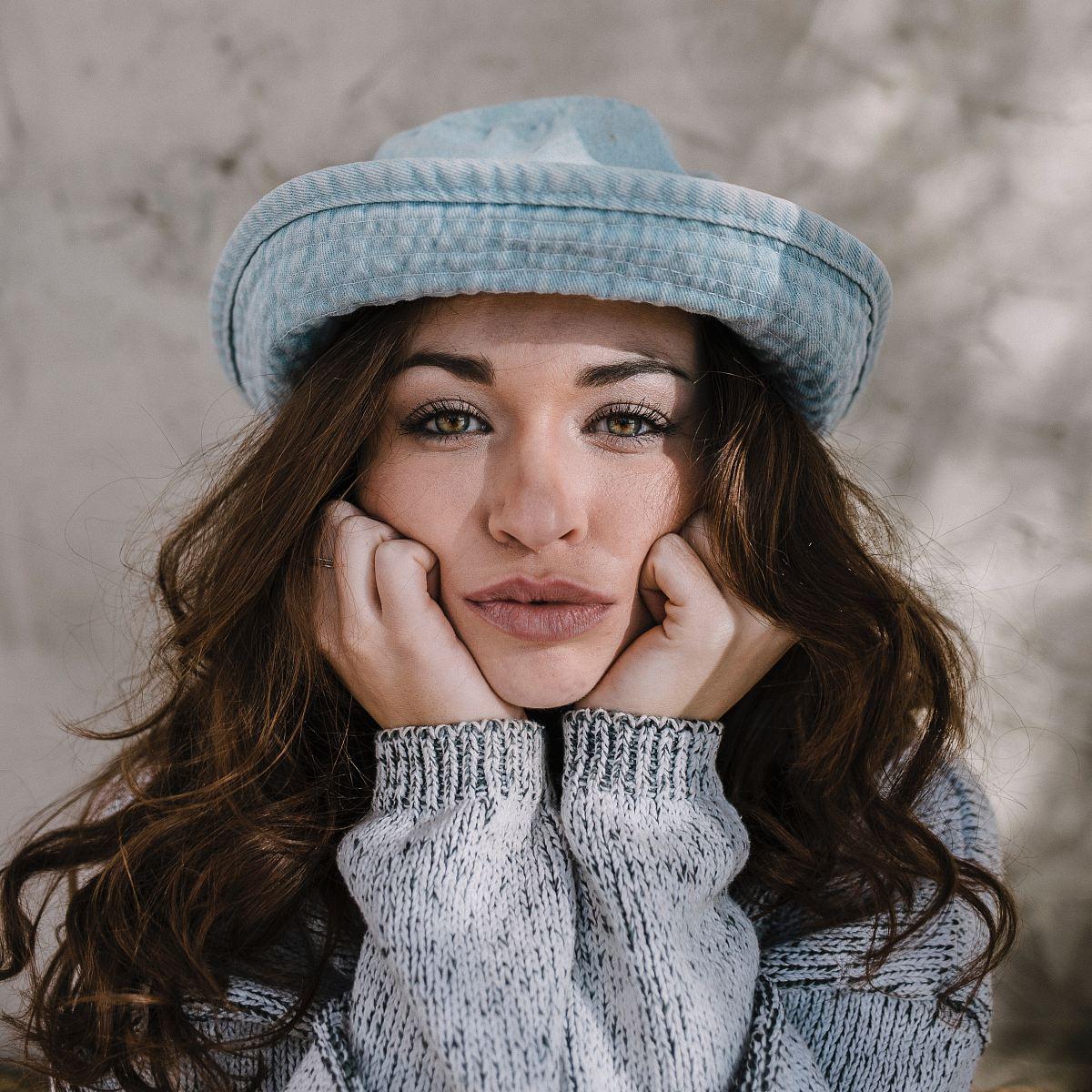 stock photos free  of women's blue hat