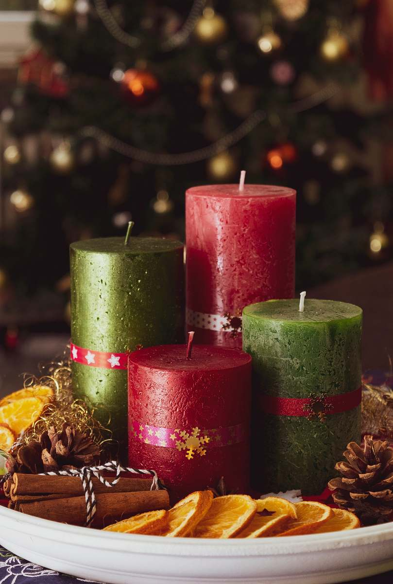 stock photos free  of fire red and green candles on white tray plant