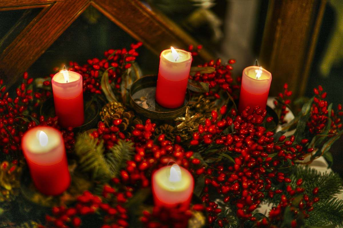 stock photos free  of fire red candles on brown wooden table flame