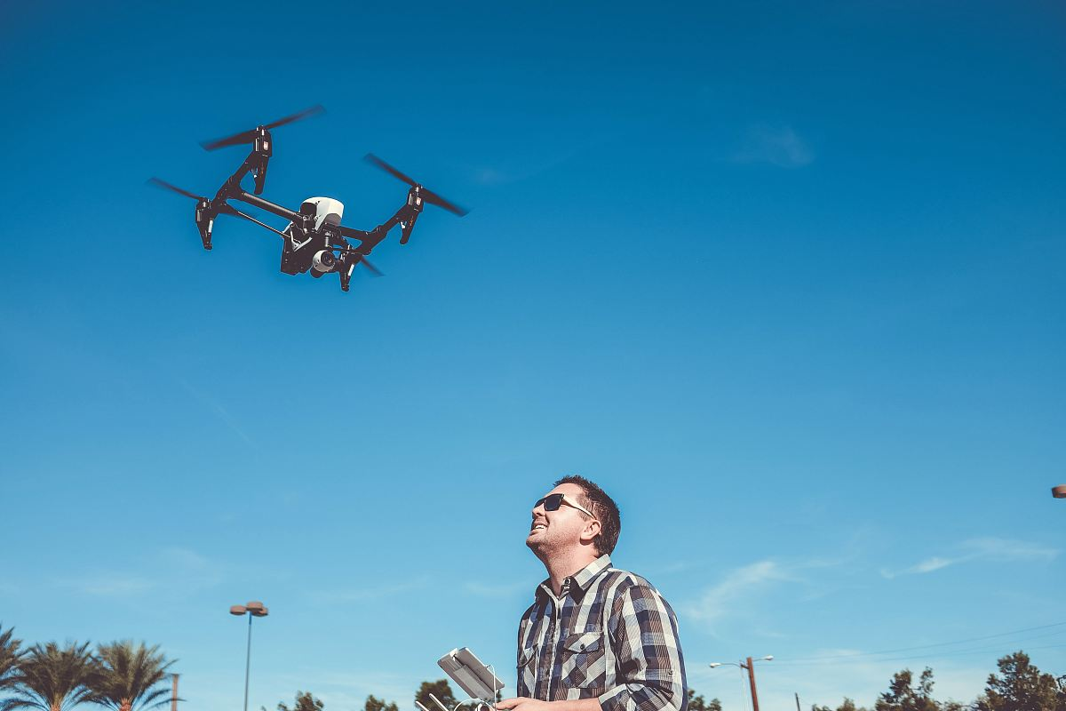 stock photos free  of man flying drone