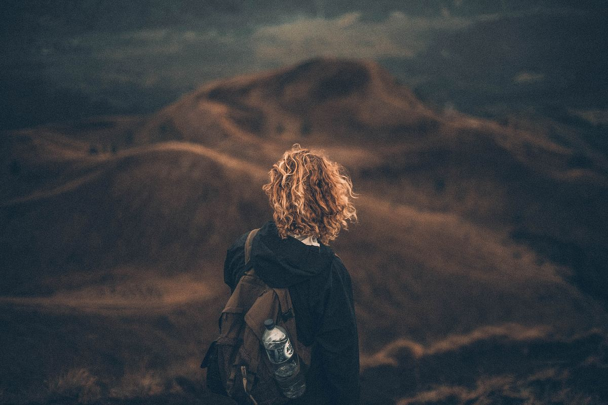 stock photos free  of person standing on mountain