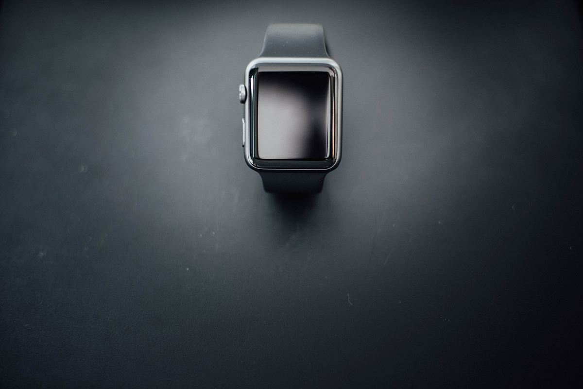 Shallow Focus Photography Of Silver Apple Watch With Black Sport Band Image Free Stock Photo