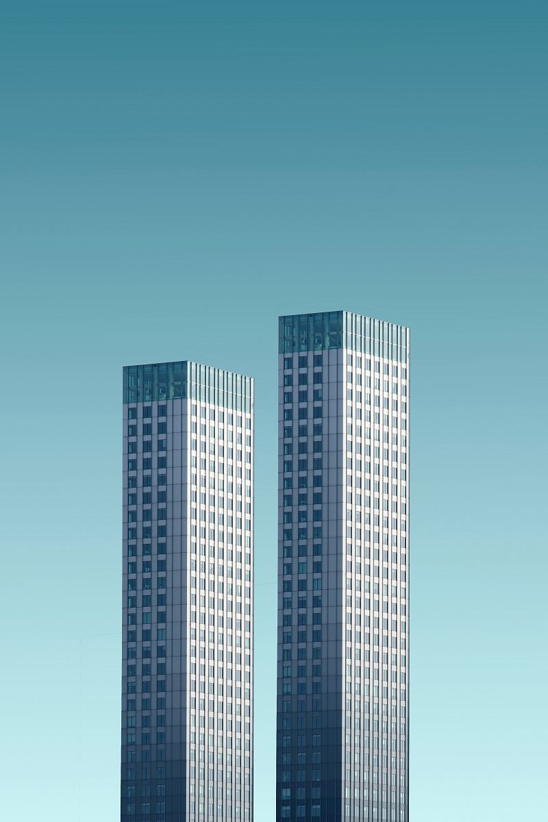 stock photos free  of two teal-and-white skyscrapers