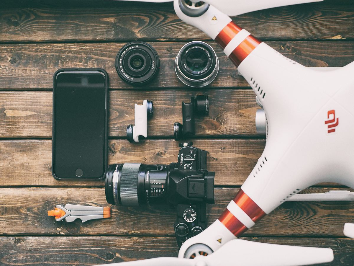 stock photos free  of white and red DJI quadcopter drone