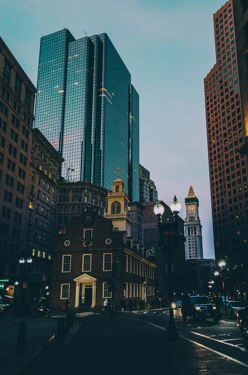 stock photos free  of road black high buildings at nighttime urban