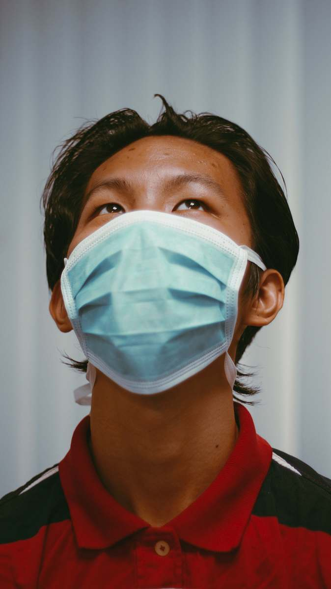 stock photos free  of doctor woman in red shirt wearing white face mask person