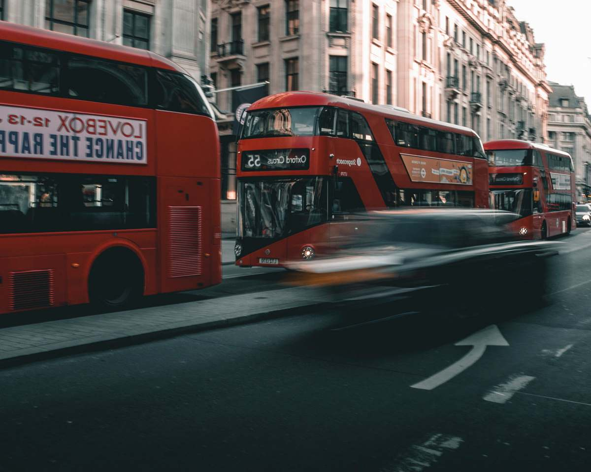 stock photos free  of transportation speeding car on the road near double decker buses vehicle