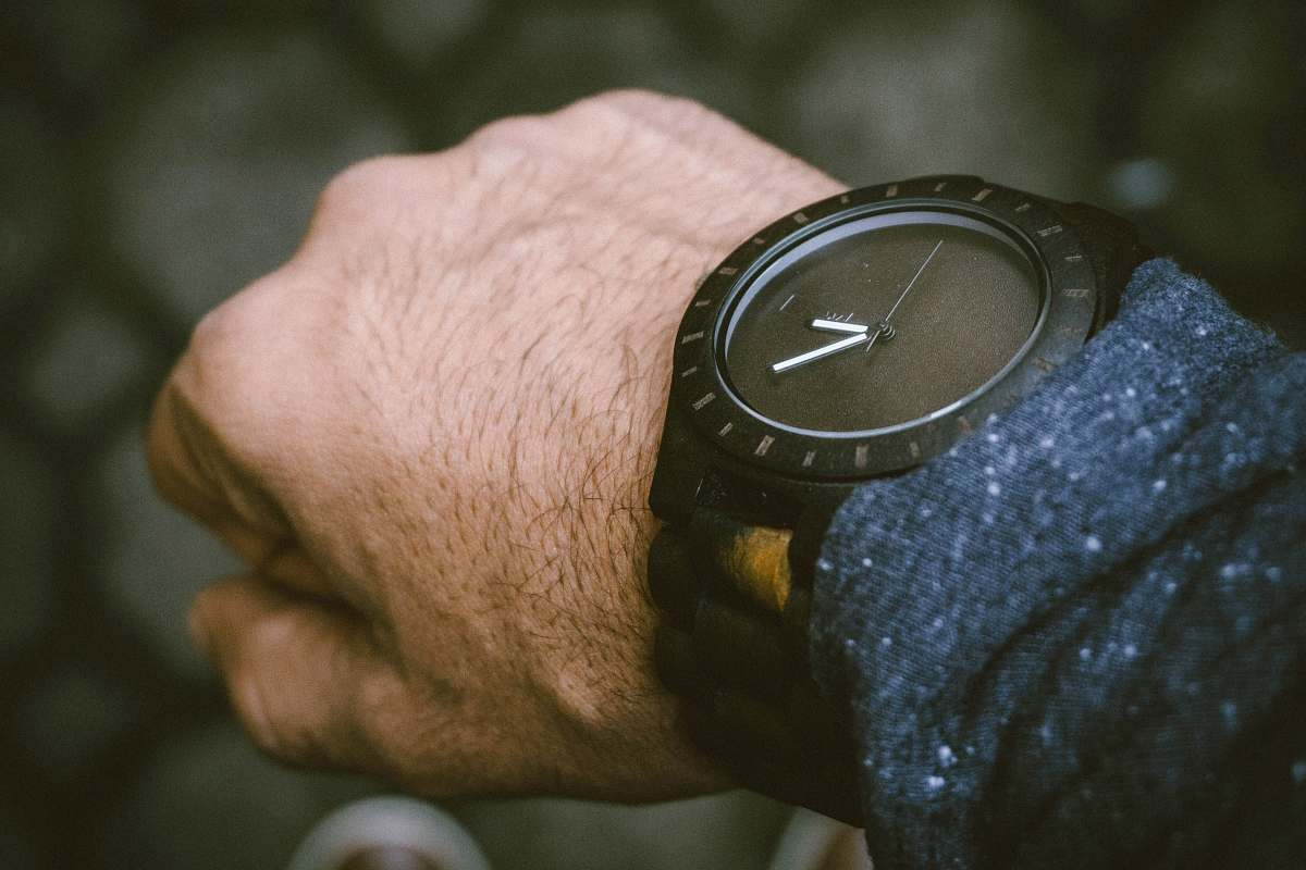 stock photos free  of wrist round black analog watch in left human wrist digital watch