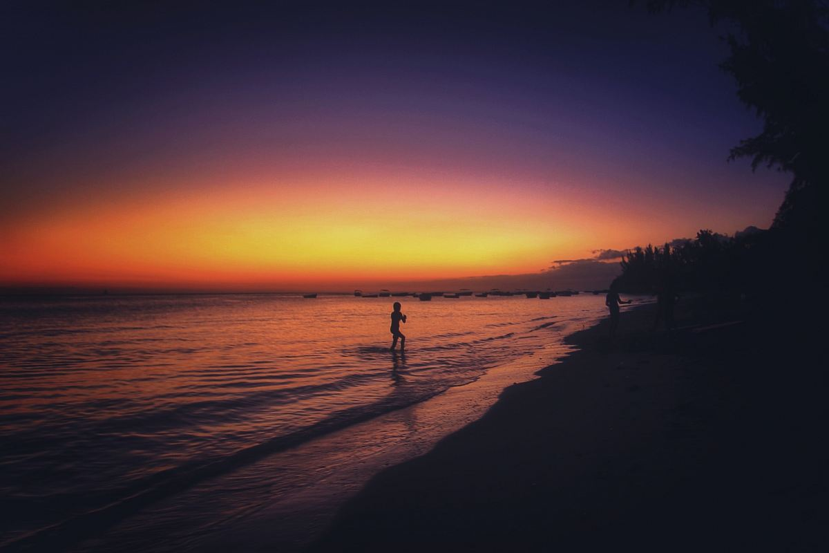 stock photos free  of silhouette of person standing on shore during sunset
