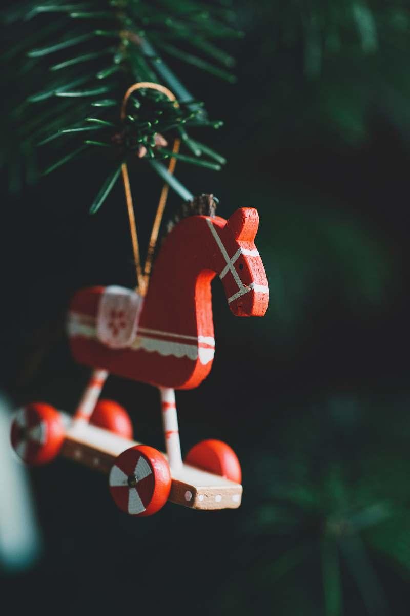 Figurine Orange And White Horse Christmas Tree Ornmaent Toy Image Free Stock Photo
