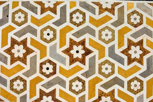 pattern brown, white, and yellow floral pattern ornament